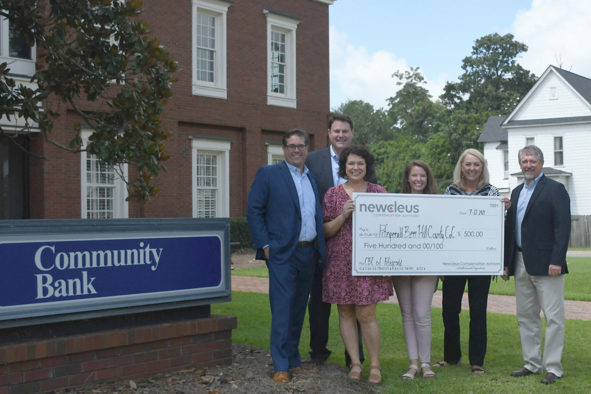 Newcleus Compensation. (Pictured from left to right: JR Llewellyn and Charlie Hicks from Newcleus, Melissa Dark and Jessica Griner from Fitzgerald-Ben Hill County Chamber of Commerce, Debra B. Weil and Corey Gibbs from Community Banking Company of Fitzgerald).Advisors donate $500 to Fitzgerald Chamber of Commerce at the Community Bankers Association of Georgia Convention.
